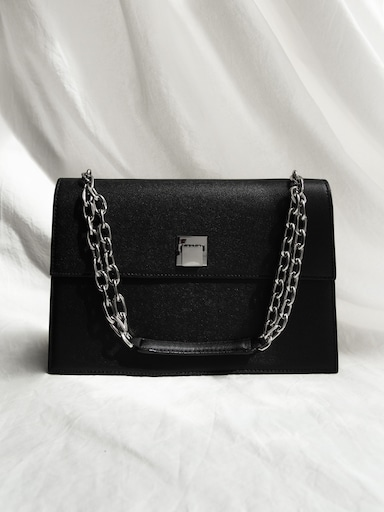 Chain-embellished shoulder bag