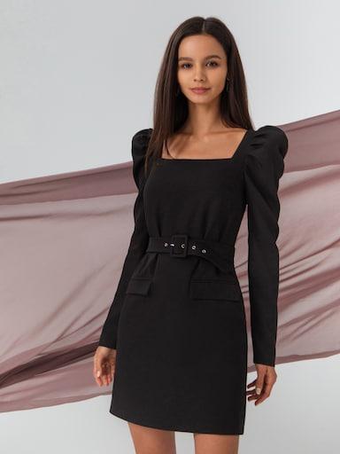 Платье-мини с пышными плечами