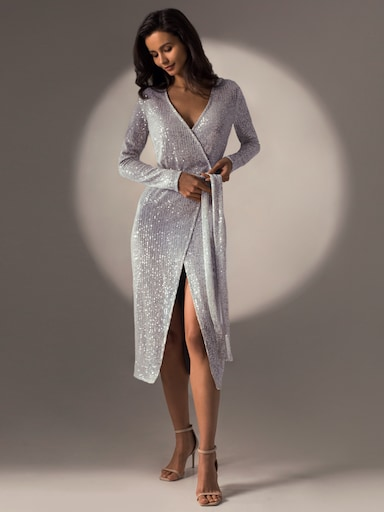 Sequined wrap midi dress