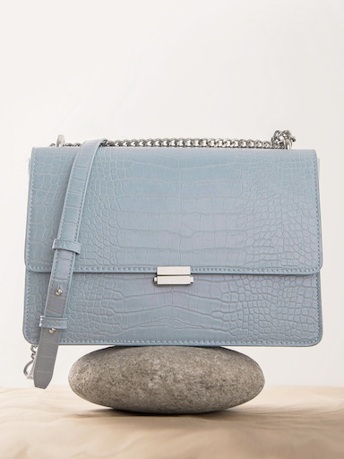 Croc-effect shoulder bag