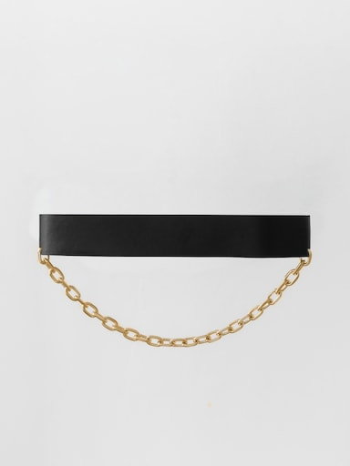 Chain-embellished waist belt