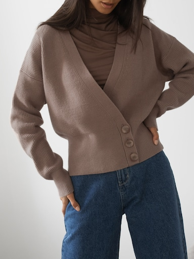 Asymmetric ribbed-knit cardigan