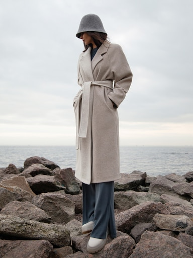 Belted two-tone wool-blend coat