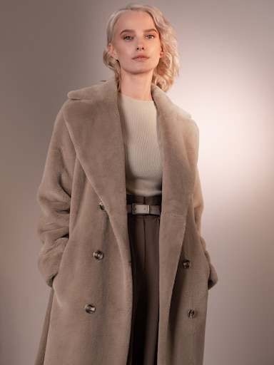 Double-brested belted faux-fur coat