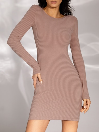 Ribbed-knit mini dress