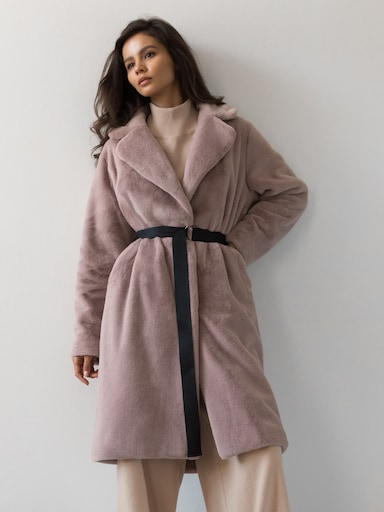Faux-fur wrap coat