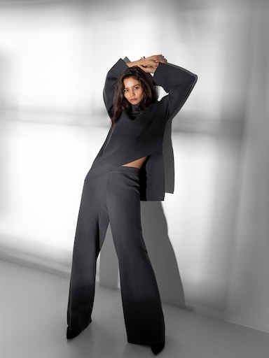 Ribbed-knit wide-leg pants