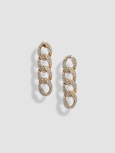 Rhinestone-encrusted chain-link earrings