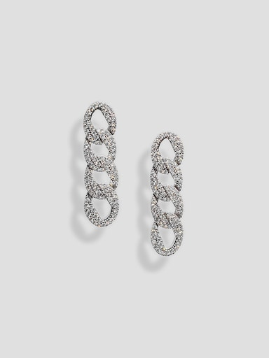 Rhinestone-encrusted chain-link earrings