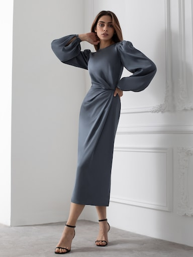 Asymmetric draped midi dress