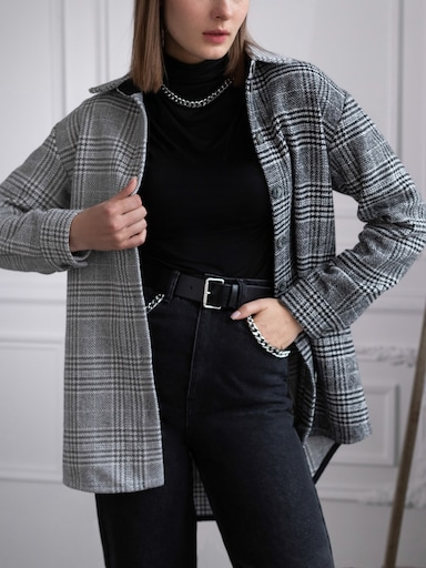 Oversized wool-blend shirt