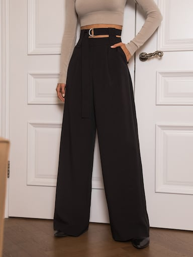 Double-waistband palazzo pants
