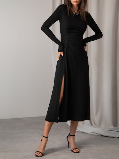 Gathered stretch-jersey dress