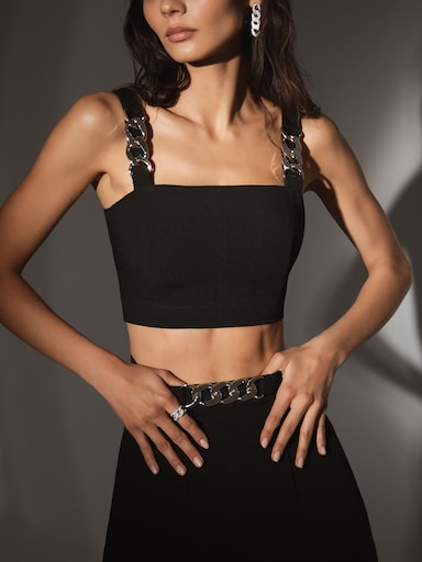 Chain-detailed crop top
