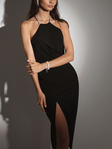 Chain-detailed off-shoulder dress