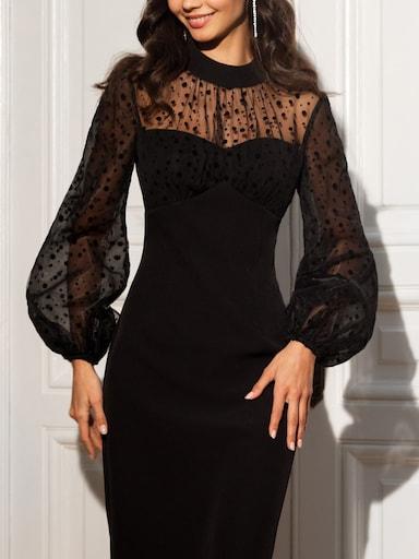 Платье с рукавами из шифона