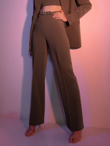 Chain-detailed straight-leg pants