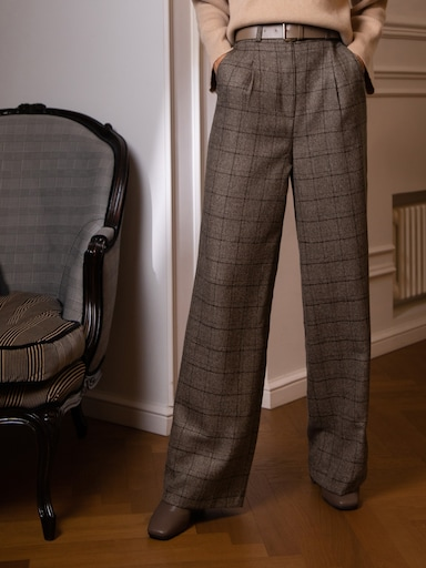 Pleated wide-leg wool-blend pants