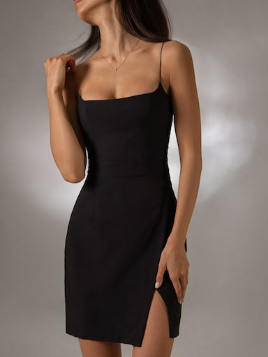 Thin strap front-slit mini dress