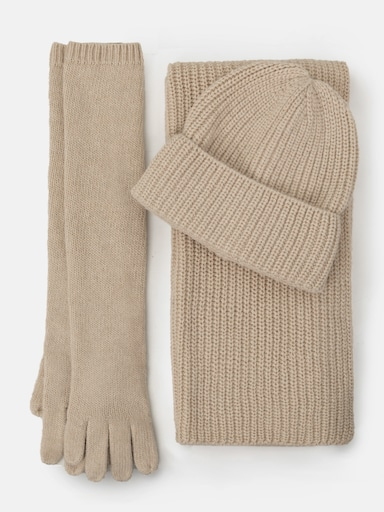 Ribbed-knit beanie, scarf and gloves set