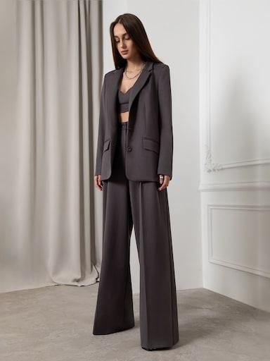 Брюки-палаццо из костюмной ткани