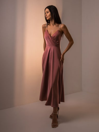 Pearl-strap midi dress