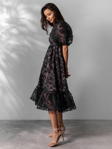Платье длины миди из органзы