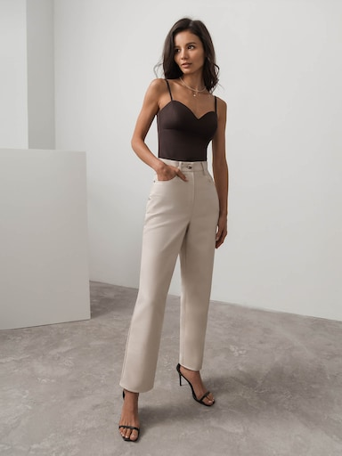 Straight-leg vegan-leather pants