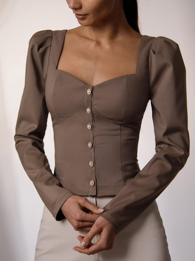 Corset-inspired blouse