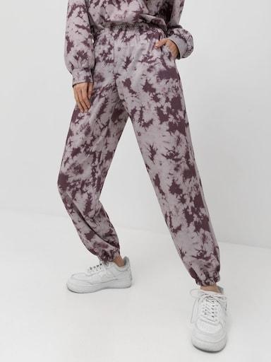 Трикотажные брюки с принтом тай-дай