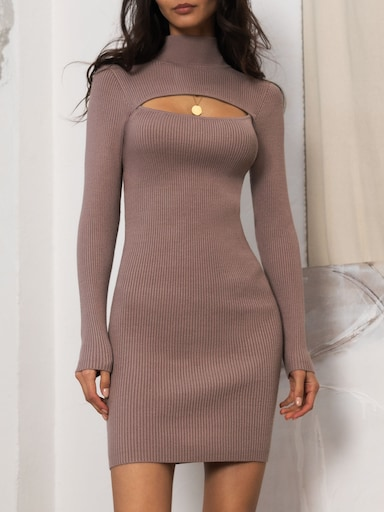 Cutout ribbed-knit mini dress