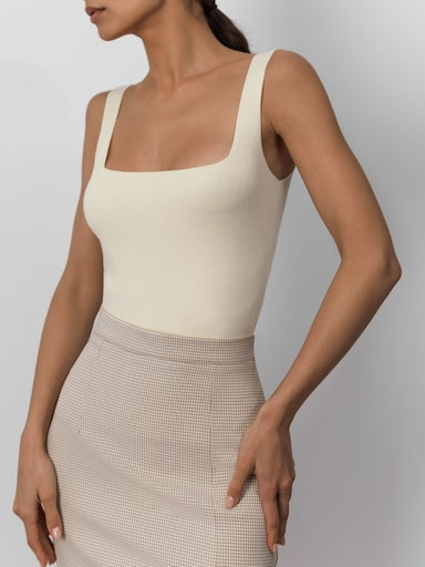Square-neck ribbed-knit tank top