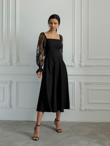 Платье миди с рукавами из органзы