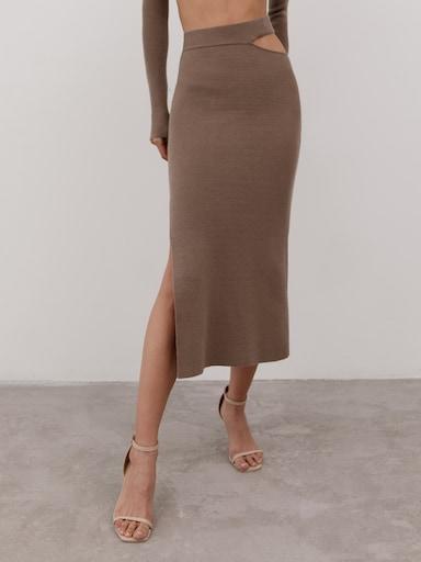 Cutout ribbed-knit pencil skirt