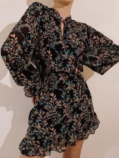 Tie-neck mini dress