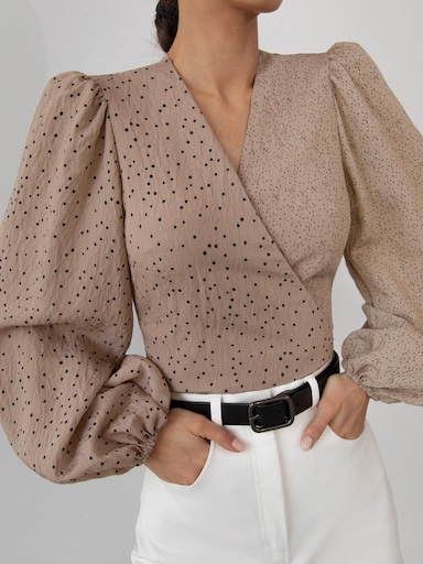 Combined wrap blouse