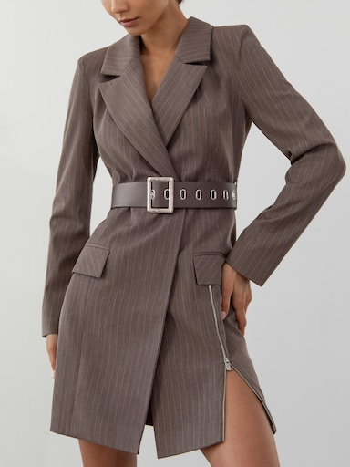 Zip-detailed blazer dress