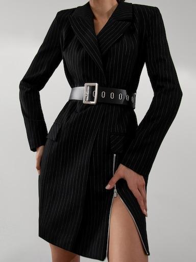 Zip-detailed blazer dress