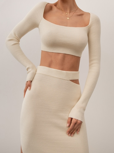Fitted ribbed-knit crop top