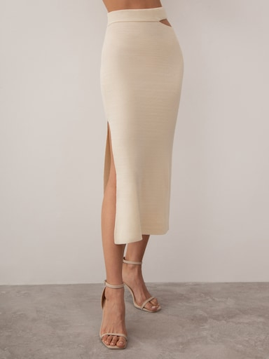 Cutout ribbed-knit pencil skirt