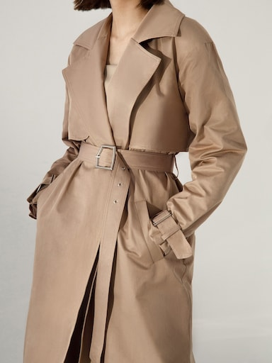 Buckle-detailed trench coat