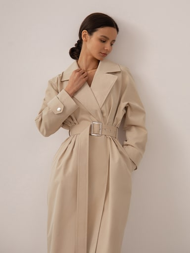 Oversized wide-lapel trench coat