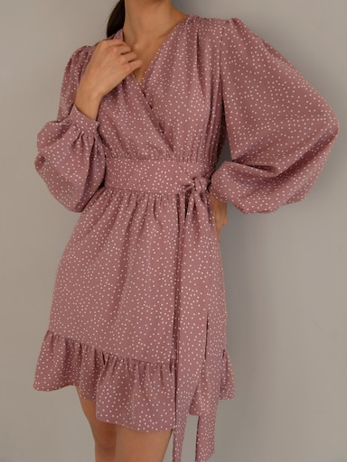 Ruffled wrap mini dress