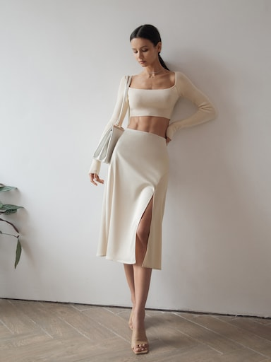 Slit-detailed midi skirt